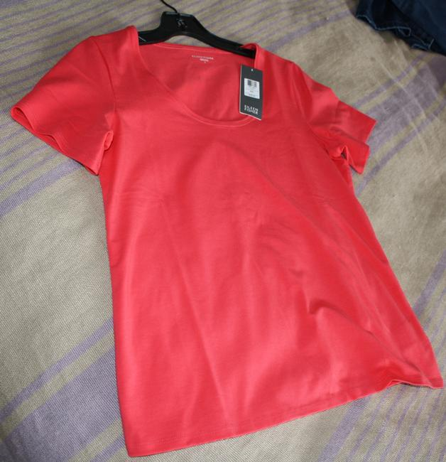 Eileen Fisher Scoop Neck Tee Organic Cotton Lycra Rose Pink T Shirt Strawberry
