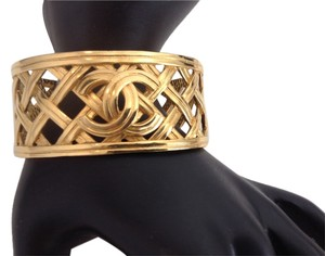 Chanel RARE VINTAGE CHANEL '96P GOLD PLATED CC BRACELET CUFF