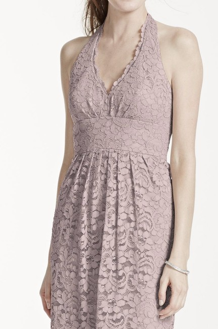 David's Bridal Elegant Lace Casual Halter Bridesmaid Dress
