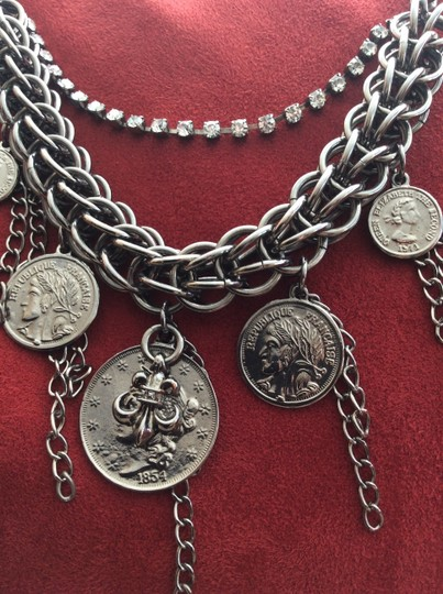 Other Cara statement French coin silver tone necklace with rhinestones