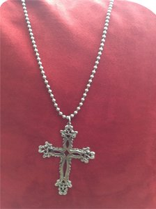 Vintage inspired silver tone cross on a ball chain