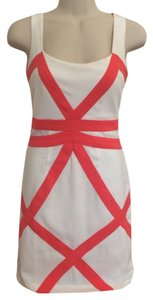 Minuet Petite short dress White, Coral Pink Sleeveless Panel on Tradesy