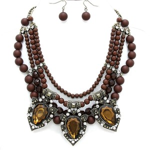 Victorian Style Beaded Crystal Accent Vintage Brown Fashion Necklace