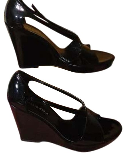 Michael Antonio Platform Patent Leather Sexy Black Wedges