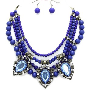 Other Victorian Style Multilayered Beaded Crystal Accent Retro Vintage Fashion Blue Necklace