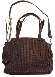 Elliott Lucca Leather Woven Cross Body Chocolate Messenger Bag
