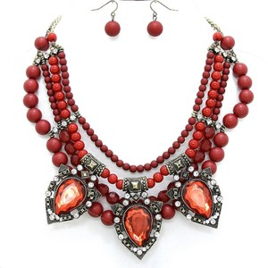 Other Victorian Style Multilayered Beaded Crystal Accent Retro Vintage Fashion Red Necklace