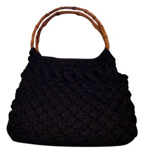 Bamboo Crochet Satchel in Black