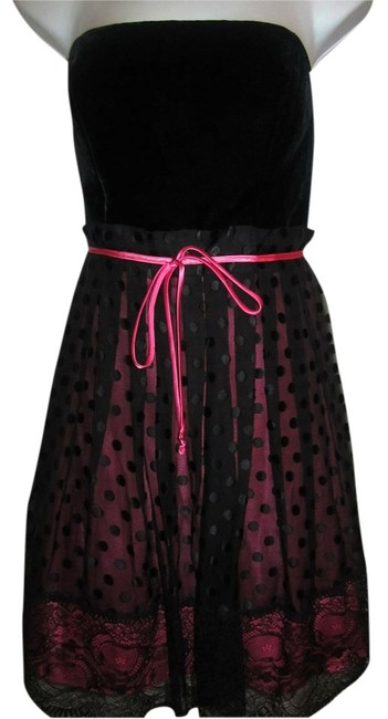 Preload https://item1.tradesy.com/images/betsey-johnson-black-and-pink-knee-length-cocktail-dress-size-8-m-4398595-0-0.jpg?width=400&height=650