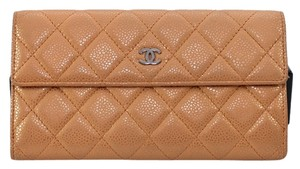 Chanel Chanel 11 Classic Metallic Gold Caviar Quilted Leather Long CC Flap Wallet Purse