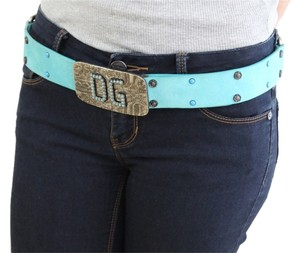 Dolce&Gabbana Dolce & Gabbana Blue Suede Leather Belt Turquoise Stoned Gunmetal Buckle 90