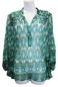 Casual Studio Print Sheer Tunic Silk Top