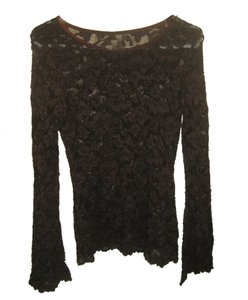 Lace Floral See-through Top Brown