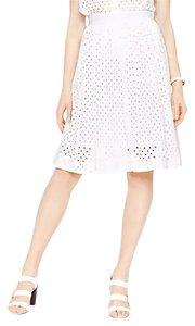 Kate Spade Summer Eyelet Pleated A-line Skirt White