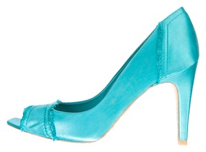 Pedro Garcia Peep Toe Satin Stiletto Aqua Pumps