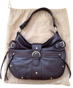 Vera Pelle Leather Pebbled Gold Hardware Shoulder Bag