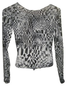Other Geometric Zipper Longsleeve Italian Top Black and white