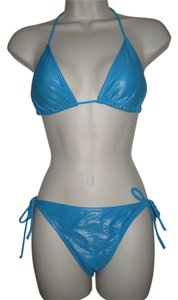 OP OP Ocean Pacific Blue Shimmer Bikini Size Medium Large