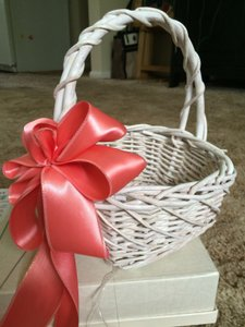 White Flower Girl Basket With Coral Ribbon