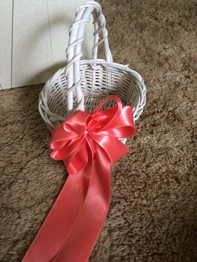 White with Coral Ribbon Flower Girl Basket