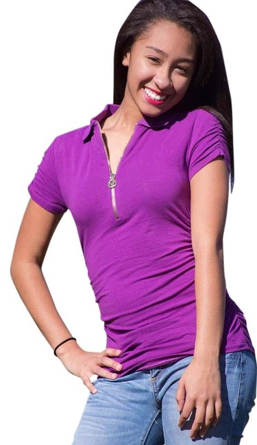 Preload https://item3.tradesy.com/images/michael-kors-purple-short-sleeve-ruched-polo-tee-shirt-size-2-xs-4400377-0-3.jpg?width=400&height=650