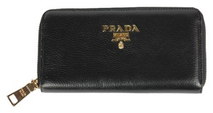 Prada Prada Saffiano Accordion Leather Zip Around Wallet - Black