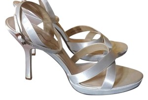 Nina White Dyeable Wedding Satin Ankle Strap White Satin Formal