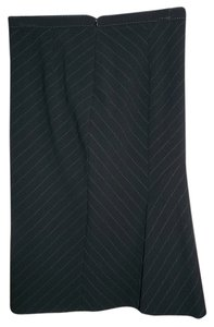 Mango Pinstripe Size 6 Wool Blend Lined Skirt Black