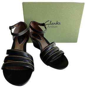 Clarks Leather Sandal Straps Comfortable Black Wedges