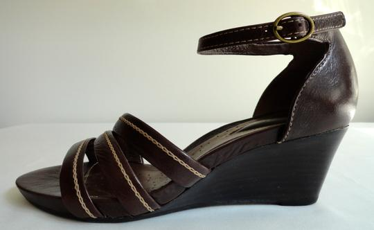 Clarks Sandal Leather Comfortable Brown Wedges