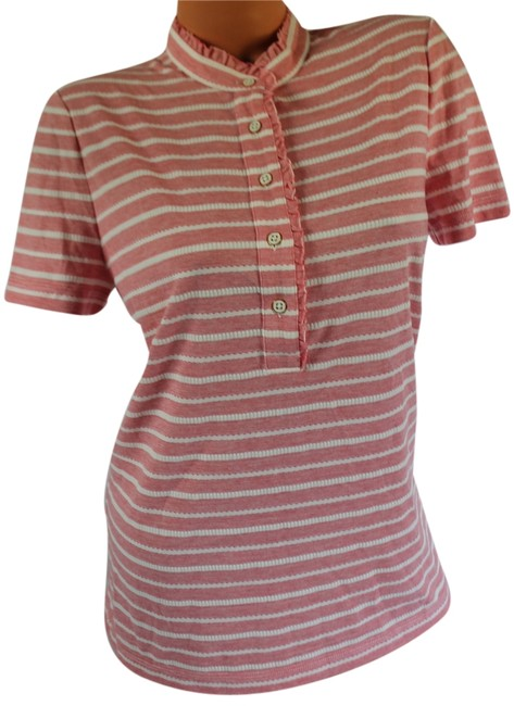 Item - Red Pepper Ivory 630 With Tags Lidia Polo Shirt Ruffled Short Sleeve Button-down Top Size 12 (L)