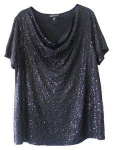 INC International Concepts Sequin Top Black Sequin