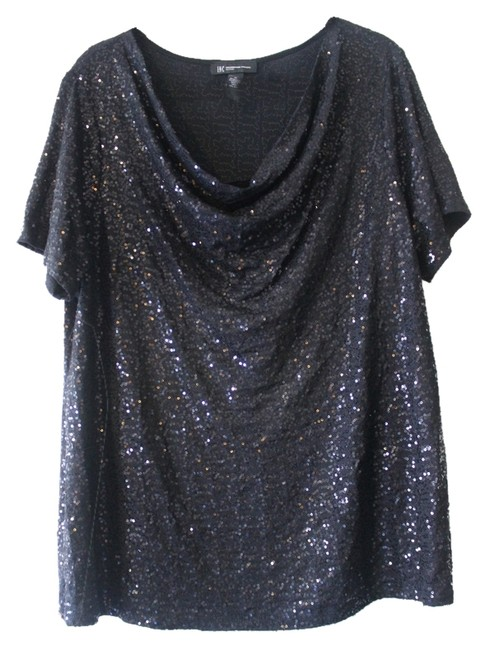INC International Concepts Top Black Sequin