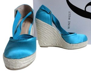 Nine West Satin Espadrille Aqua Wedges