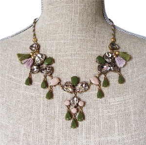 J.Crew NEW Statement Necklace Acrylic Green Mauve & Glass Drop Flower Palm Leaf
