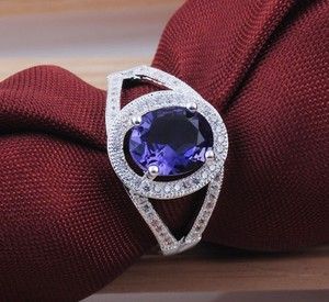 Silver Amethyst White Topaz Fashion Free Shipping Ring