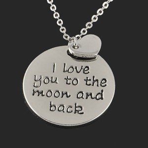 I Love You To The Moon And Back Necklace Silver Free Shipping