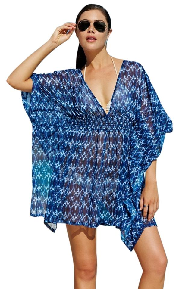 Jessica Simpson Blue Multi Navy Ikat Batwing Tunic Swimsuit L Cover ...