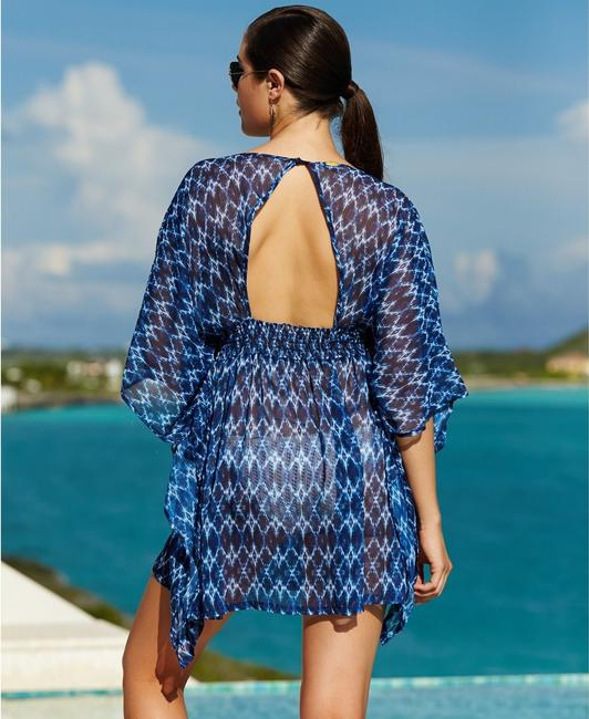 Jessica Simpson JESSICA SIMPSON NAVY IKAT BATWING TUNIC SWIMSUIT COVER UP L NWT