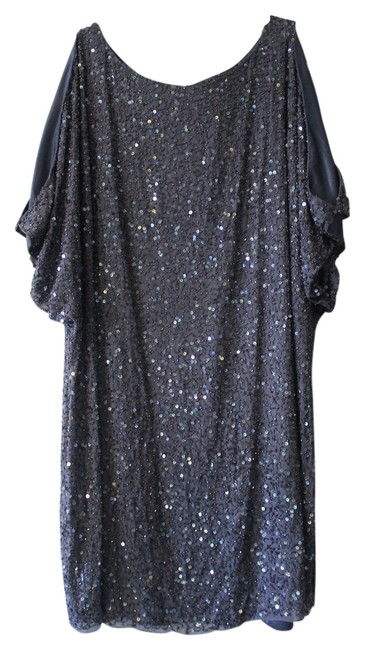 Item - Blue Gray Sequin and Beads Beaded Open Shoulder Knee Length Night Out Dress Size 16 (XL, Plus 0x)