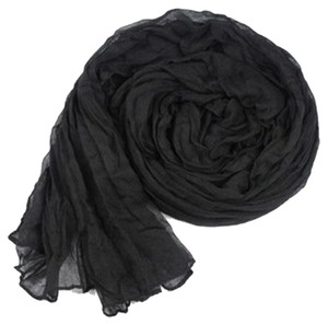 Lightweight Black Crinkle Cotton Oversized Scarf Free Shipping