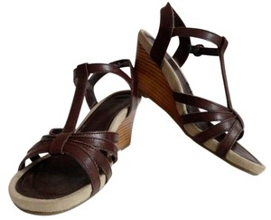 Bass Wedge Sandal Leather Chocolate Wedges