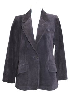 Ellen Tracy Linda Allard Suede Leather PURPLE Leather Jacket