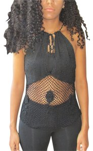bebe Crocheted Open Weave black Halter Top