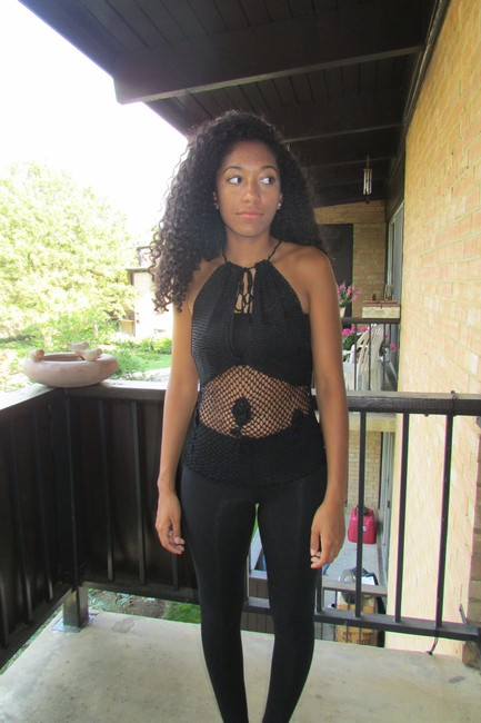 bebe Crocheted Open black Halter Top