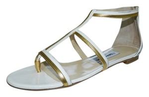 Jimmy Choo Tabetha Sandals Sandals White and Gold Flats