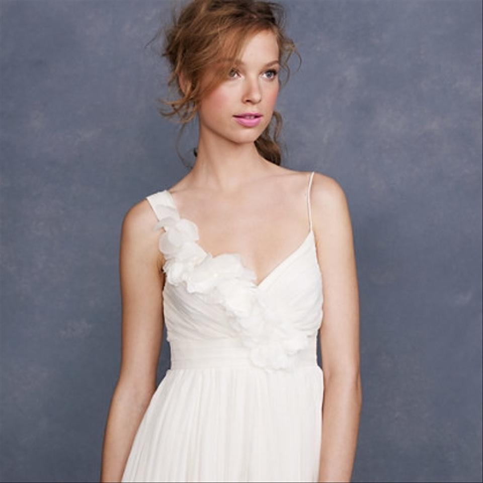 JCrew Ivory Chiffon Dune Feminine Wedding Dress Size 4 S 12345