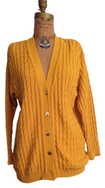 Preload https://item1.tradesy.com/images/krizia-yellow-golden-cotton-knit-cardigan-sweater-w-gold-buttons-cardigan-size-10-m-4403890-0-0.jpg?width=400&height=650