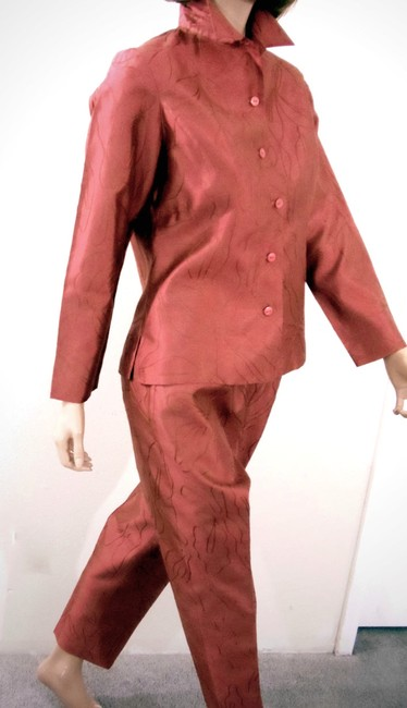 SilkLand Silkland Petite Oriental Red Shantung Embroidered Pant Set