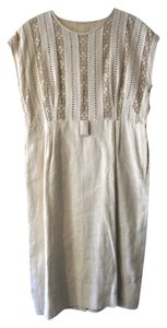 short dress Beige Vintage Crochet Cut-out on Tradesy